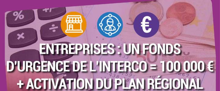 FONDS D'URGENCE : L'interco débloque 100 000€ pour les petites entreprises du territoire et abonde l'aide régionale