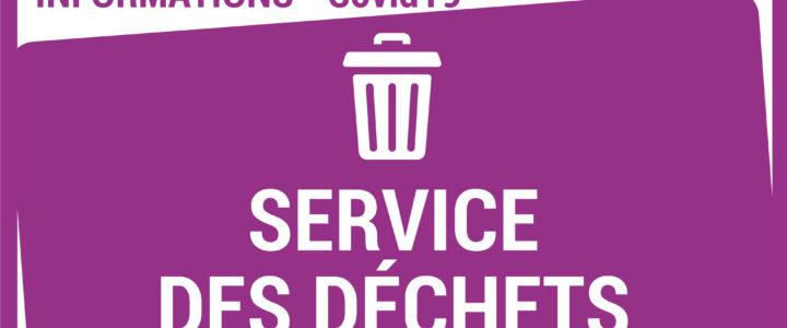 INFO CORONAVIRUS – SERVICE DES DÉCHETS