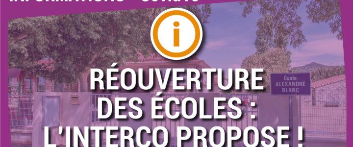 Réouverture des écoles, l'interco propose !