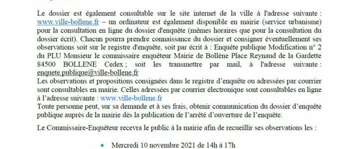 Avis d'enquête publique – Projet de modification n°2 du Plan Local d'Urbanisme de la commune de Bollène