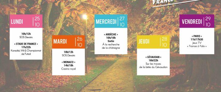 Le programme des espaces jeunes intercommunaux du 25 au 29 octobre